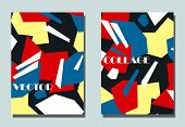 Trendy Cover With Graphic Elements - Abstract Shapes. Two Modern Vector Flyers In Avant-garde  Style poster
