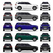Realistic Suv Car. Cars Set. Front View; Side View; Back View. poster