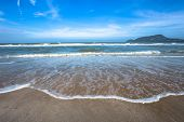 Sea Wave Foam On Karon Beach Phuket Thailand. Exotic Paradise Of Thailand Beach Asia. Peaceful Ocean poster