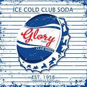Ice Cold Club Soda Glory  Vector Graphic Design.retro And Vintage Style poster