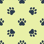 Blue Paw Print Icon Isolated Seamless Pattern On White Background. Dog Or Cat Paw Print. Animal Trac poster