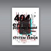 Glitch 404 Page Not Found Template. Tv Distorted Signal Chaos, Glitched Effect Distortion Color Phot poster