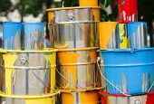 The Used Paint Cans. Colorful Paint Buckets. poster