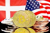 Concept For Investors In Cryptocurrency And Blockchain Technology In The Denmark And United States O poster