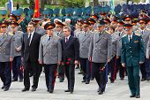 MOSCOW - MAY 8: Veterans, officers and State Duma deputies go at ceremony of wreath laying at tomb o