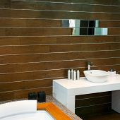 picture of lavabo  - Bathroom with wooden walls and modern basin - JPG