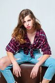 Retro Fashion Model. Teen Girl In Retro Clothes. Vintage Style. Denim Look. Hair Fashion. Travel Wit poster
