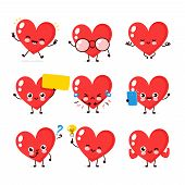 Cute Happy Smiling Heart Character Set Collection. Vector Flat Cartoon Illustration Icon Design. Iso poster