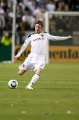 CARSON, CA. - APRIL 2: Los Angeles Galaxy M David Beckham #23 during the MLS game on April 2 2011 at