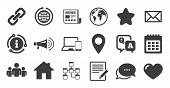 Set Of Communication, Conference And Information Icons. Information, Chat Bubble Icon. E-mail, Print poster