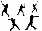 stock photo of swingers  - Black and White silhouette of baseball players - JPG