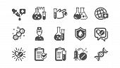 Medical Healthcare, Doctor Icons. Drug Testing, Scientific Discovery And Disease Prevention Icons. C poster