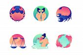 Set Flat Icons Zodiac With Virgo, Libra, Pisces, Twins, Scorpio And Crab. Concept Collection Modern  poster