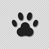 Alimal Paw Sign With Realistic Shadow On Transparent Background. Paw Symbol. poster