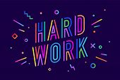 Hard Work. Poster Banner With Text Hard Work For Emotion, Inspiration And Motivation. Trendy Hand-dr poster