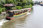 Long Tail Boat Rental Bangkok River Service Support People Travelers poster