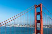City of San Francisco seen through wires of the Golden Gate Bridge. California, USA poster