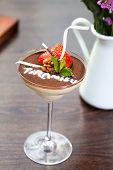 Tiramisu dessert in glass cup