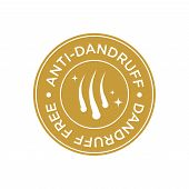 Anti Dandruff Icon. Round And Golden Symbol. poster