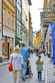 Turists On The Street Of The Old Town (gamla Stan) In Stockholm