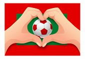 Maldives Flag And Hand Heart Shape. National Football Background. Soccer Ball With Flag Of Maldives  poster