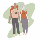 Isolated Illustration Of Senior Retired Couple Travelling. Active Retired Couple Going To Travel On  poster