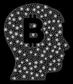 Glowing Mesh Mental Bitcoin With Glitter Effect. Abstract Illuminated Model Of Mental Bitcoin Icon.  poster