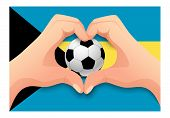 Bahamas Flag And Hand Heart Shape. National Football Background. Soccer Ball With Flag Of Bahamas Il poster