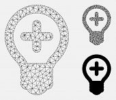 Mesh Medical Bulb Model With Triangle Mosaic Icon. Wire Frame Triangular Mesh Of Medical Bulb. Vecto poster