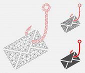 Mesh Envelope Phishing Hook Model With Triangle Mosaic Icon. Wire Frame Triangular Mesh Of Envelope  poster