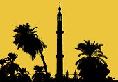 Silhouette of a minaret along the Nil river Egypt