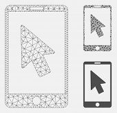 Mesh Mobile Arrow Pointer Model With Triangle Mosaic Icon. Wire Carcass Polygonal Mesh Of Mobile Arr poster