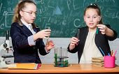 Perform Chemical Reactions. Basic Knowledge Of Chemistry. Girls Classmates Study Chemistry. Make Stu poster