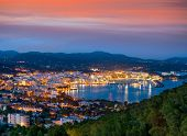Santa Eulalia Eularia des Riu skyline sunset Ibiza at Balearic Islands poster