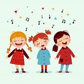 Three Little Girl Singing A Song On Blue Background. Happy Three Kids Singing Together. poster