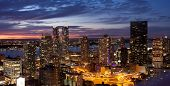 stock photo of new york night  - Panoramic view of New York City Skyline at sunset time - JPG