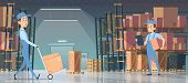 Warehouse Interior. Big Room With Boxes On Pallet Shelves People Loaders Working Vector Inside Of Wa poster