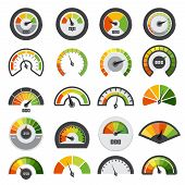 Speedometers Collection. Symbols Of Speed Score Measuring Tachometer Level Indices Vector Collection poster