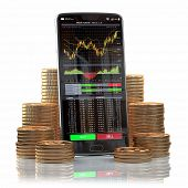 Mobile phone with forex application  on the screen and stacks of coins. Online stock trading, stock  poster
