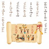 Ancient Egypt Papyrus Scroll With Red Cord Cartoon Vector. Ancient Paper With Hieroglyphs And Egypti poster