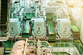 Engine And Machine In Marine Ship. Engine Room For Drive Marine Ship. It Is Diesel Engine. Vessels  poster