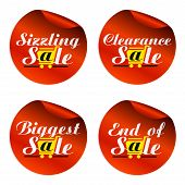 Red Sale Stickers Sizzling,clearance,biggest,end Of With Yellow Shopping Cart.vector Illustration poster