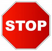 pic of traffic sign  - red gradient stop sign on white background - JPG