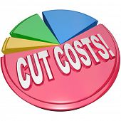 The words Cut Costs on a pie chart to symbolize the need to reduce overhead and debt burdens to increase profitability and health of a business or family finances