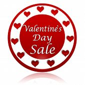 Valentines Day Sale Red Circle Banner With Hearts Symbols