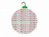 Merry Christmas Word Ornament Vector Ball