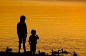 Two Children feeding the Duck