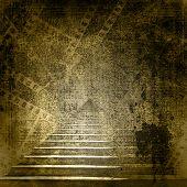 Escaleras de piedra en el fondo de papel viejo con diapositivas