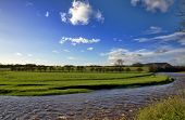 View of the River Ribble and fields, Clitheroe.
