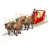 stock photo of santa sleigh  - Render of Santa Claus  - JPG